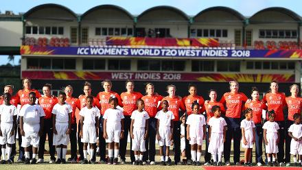England line up against South Africa during the ICC Women's World T20 2018 match between England and South Africa at Darren Sammy Cricket Ground on November 16, 2018 in Gros Islet, Saint Lucia.