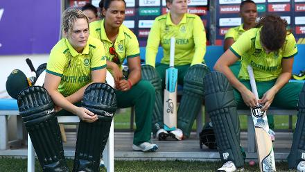 Dane van Niekerk of South Africa looks on from the dug out during the ICC Women's World T20 2018 match between England and South Africa at Darren Sammy Cricket Ground on November 16, 2018 in Gros Islet, Saint Lucia.