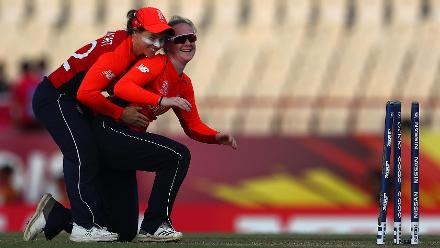 Tammy Beaumont of England congratulates Kirstie Gordon of England on running out Dane van Niekerk of South Africa during the ICC Women's World T20 2018 match between England and South Africa at Darren Sammy Cricket Ground on November 16, 2018.