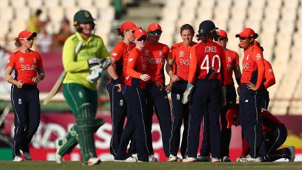 Natalie Sciver of England is congratulated on bowling Lizelle Lee of South Africa for LBW during the ICC Women's World T20 2018 match between England and South Africa at Darren Sammy Cricket Ground on November 16, 2018 in Gros Islet, Saint Lucia.