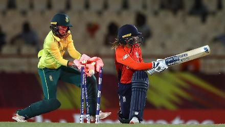 Danielle Wyatt of England is bowled by Dane van Niekerk of South Africa, as Faye Tunnicliffe of South Africa looks on during the ICC Women's World T20 2018 match between England and South Africa at Darren Sammy Cricket Ground on November 16, 2018.