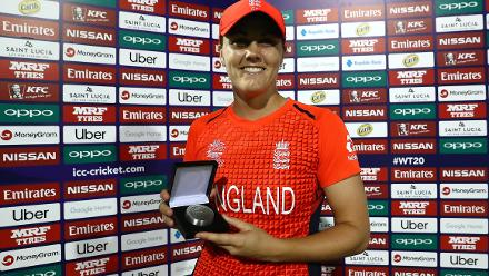 Natalie Sciver of England pictured with the 'player of the match' award after the ICC Women's World T20 2018 match between England and South Africa at Darren Sammy Cricket Ground on November 16, 2018 in Gros Islet, Saint Lucia.