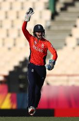 Amy Jones of England celebrates catching Laura Wolvaardt of South Africa during the ICC Women's World T20 2018 match between England and South Africa at Darren Sammy Cricket Ground on November 16, 2018 in Gros Islet, Saint Lucia.