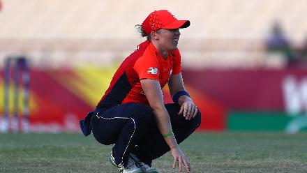 Heather Knight of England looks on, after injuring her back during the ICC Women's World T20 2018 match between England and South Africa at Darren Sammy Cricket Ground on November 16, 2018 in Gros Islet, Saint Lucia.