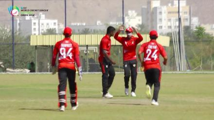 WCL Div 3 – Kenya's Dhiren Gondaria is dismissed caught and bowled against Singapore