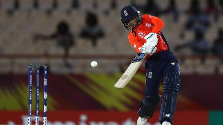 Danielle Wyatt of England hits the ball towards the boundary during the ICC Women's World T20 2018 match between England and South Africa at Darren Sammy Cricket Ground on November 16, 2018 in Gros Islet, Saint Lucia.