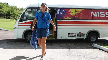 Dane van Niekerk of South Africa arrives ahead of the ICC Women's World T20 2018 match between England and South Africa at Darren Sammy Cricket Ground on November 16, 2018 in Gros Islet, Saint Lucia.