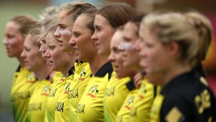 The Australia team sing their national anthem during the ICC Women's World T20 2018 match between India and Australia at Guyana National Stadium on November 17, 2018 in Providence, Guyana.