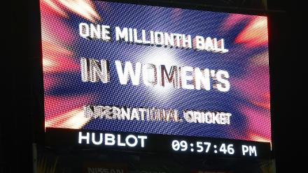 The big screen shows that the 'One Millionth ball in Womens cricket' is bowled by Shakera Selman of Windies during the ICC Women's World T20 2018 match between West Indies and Sri Lanka at Darren Sammy Cricket Ground on November 16, 2018.
