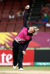 Jess Watkin of New Zealand bowls during the ICC Women's World T20 2018 match between New Zealand and Ireland at Guyana National Stadium on November 17, 2018 in Providence, Guyana.