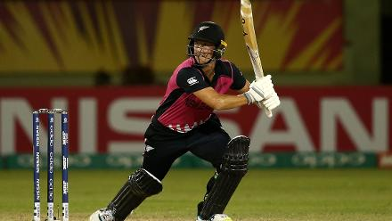 Sophie Devine of New Zealand bats during the ICC Women's World T20 2018 match between New Zealand and Ireland at Guyana National Stadium on November 17, 2018 in Providence, Guyana.