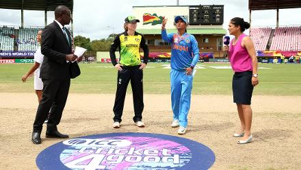 Harmanpreet Kaur of India and Meg Lanning of Australia take part in the coin toss during the ICC Women's World T20 2018 match between India and Australia at Guyana National Stadium on November 17, 2018 in Providence, Guyana.