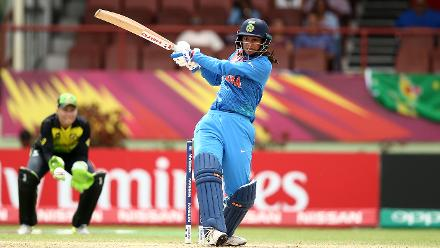 Smriti Mandhana of India bats during the ICC Women's World T20 2018 match between India and Australia at Guyana National Stadium on November 17, 2018 in Providence, Guyana.