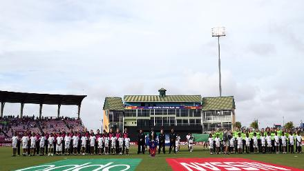 Teams line up for the national anthems during the ICC Women's World T20 2018 match between New Zealand and Ireland at Guyana National Stadium on November 17, 2018 in Providence, Guyana.