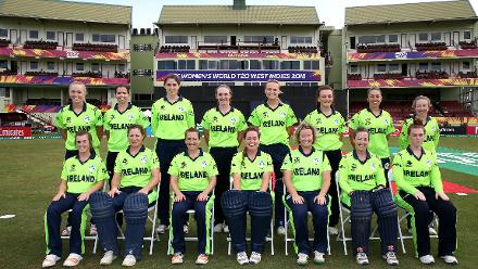 Ireland pose for a group photo during the ICC Women's World T20 2018 match between New Zealand and Ireland at Guyana National Stadium on November 17, 2018 in Providence, Guyana.