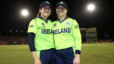 Isobel Joyce and Cecelia Joyce pose following the announcement of their retirement during the ICC Women's World T20 2018 match between New Zealand and Ireland at Guyana National Stadium on November 17, 2018 in Providence, Guyana.