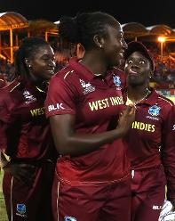 Stafanie Taylor and Kycia Knight of Windies celebrate their teams win over Sri Lanka during the ICC Women's World T20 2018 match between Windies and Sri Lanka at Darren Sammy Cricket Ground on November 16, 2018 in Gros Islet, Saint Lucia.