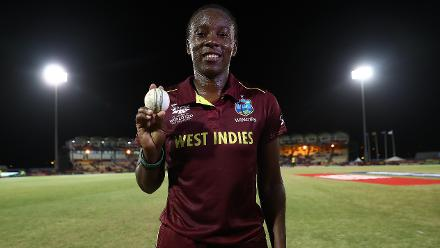 Shakera Selman of Windies pictured after bowling the 'One Millionth ball in Womens cricket' during the ICC Women's World T20 2018 match between Windies and Sri Lanka at Darren Sammy Cricket Ground on November 16, 2018 in Gros Islet, Saint Lucia.