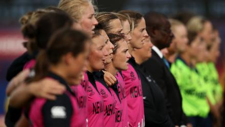 New Zealand players sing their national anthem during the ICC Women's World T20 2018 match between New Zealand and Ireland at Guyana National Stadium on November 17, 2018 in Providence, Guyana.