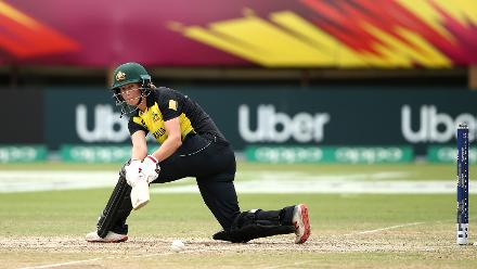 Meg Lanning of Australia bats during the ICC Women's World T20 2018 match between India and Australia at Guyana National Stadium on November 17, 2018 in Providence, Guyana.