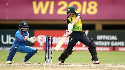 Meg Lanning of Australia bats with Taniya Bhatia, wicket keeper of India looking on during the ICC Women's World T20 2018 match between India and Australia at Guyana National Stadium on November 17, 2018 in Providence, Guyana.