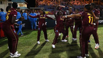 Windies players celebrate their win over Sri Lanka during the ICC Women's World T20 2018 match between Windies and Sri Lanka at Darren Sammy Cricket Ground on November 16, 2018 in Gros Islet, Saint Lucia.