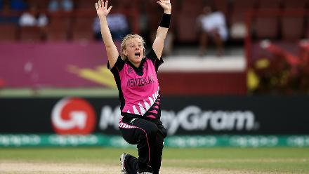 Leigh Kasperek of New Zealand appeals for a wicket during the ICC Women's World T20 2018 match between New Zealand and Ireland at Guyana National Stadium on November 17, 2018 in Providence, Guyana.