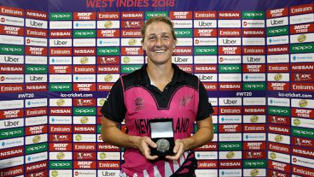 Sophie Devine of New Zealand pose with her player of the match award during the ICC Women's World T20 2018 match between New Zealand and Ireland at Guyana National Stadium on November 17, 2018 in Providence, Guyana.