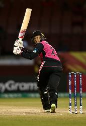 Suzie Bates of New Zealand bats during the ICC Women's World T20 2018 match between New Zealand and Ireland at Guyana National Stadium on November 17, 2018 in Providence, Guyana.