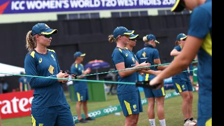 Australia players warm up during the ICC Women's World T20 2018 match between India and Australia at Guyana National Stadium on November 17, 2018 in Providence, Guyana.