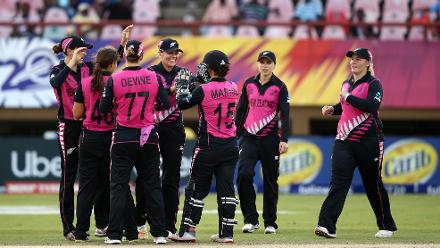 Katey Martin, wicket keeper of New Zealand celebrates a stumping with team mates during the ICC Women's World T20 2018 match between New Zealand and Ireland at Guyana National Stadium on November 17, 2018 in Providence, Guyana.