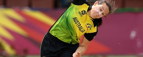 Megan Schutt of Australia bowls during the ICC Women's World T20 2018 match between India and Australia at Guyana National Stadium on November 17, 2018 in Providence, Guyana.