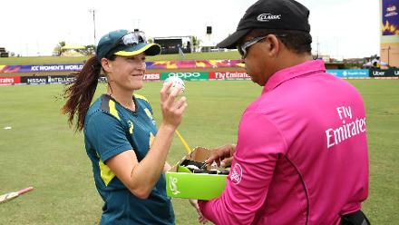 Megan Schutt of Australia chooses the match ball for Australia during the ICC Women's World T20 2018 match between India and Australia at Guyana National Stadium on November 17, 2018 in Providence, Guyana.
