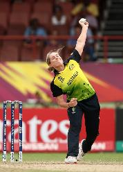 Sophie Molineux of Australia bowls during the ICC Women's World T20 2018 match between India and Australia at Guyana National Stadium on November 17, 2018 in Providence, Guyana.