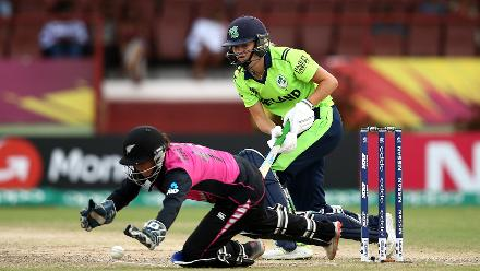 Gaby Lewis of Ireland bats with Katey Martin of New Zealand behind the stumps during the ICC Women's World T20 2018 match between New Zealand and Ireland at Guyana National Stadium on November 17, 2018 in Providence, Guyana.