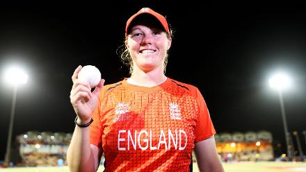 Anya Shrubsole of England pictured after getting a hat trick during the ICC Women's World T20 2018 match between England and South Africa at Darren Sammy Cricket Ground on November 16, 2018 in Gros Islet, Saint Lucia.
