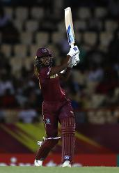 Hayley Matthews of Windies hits the ball towards the boundary during the ICC Women's World T20 2018 match between Windies and Sri Lanka at Darren Sammy Cricket Ground on November 16, 2018 in Gros Islet, Saint Lucia.