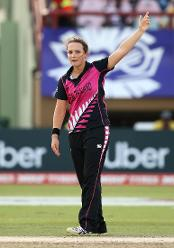 Amelia Kerr of New Zealand celebrates a wicket during the ICC Women's World T20 2018 match between New Zealand and Ireland at Guyana National Stadium on November 17, 2018 in Providence, Guyana.