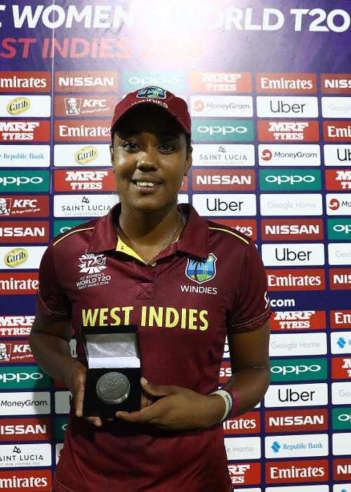 Hayley Matthews of Windies pictured with the 'Player of the Match award' after the ICC Women's World T20 2018 match between Windies and Sri Lanka at Darren Sammy Cricket Ground on November 16, 2018 in Gros Islet, Saint Lucia.