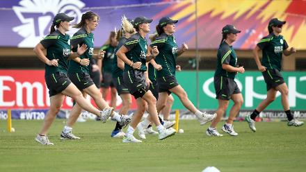 Ireland players warm up during the ICC Women's World T20 2018 match between New Zealand and Ireland at Guyana National Stadium on November 17, 2018 in Providence, Guyana.