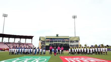 Teams line up for the national anthems during the ICC Women's World T20 2018 match between India and Australia at Guyana National Stadium on November 17, 2018 in Providence, Guyana.