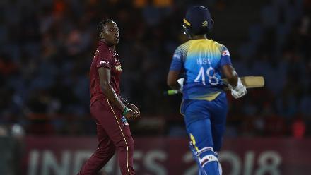 Shakera Selman of Windies celebrates bowling Hasini Perera of Sri Lanka during the ICC Women's World T20 2018 match between Windies and Sri Lanka at Darren Sammy Cricket Ground on November 16, 2018 in Gros Islet, Saint Lucia.