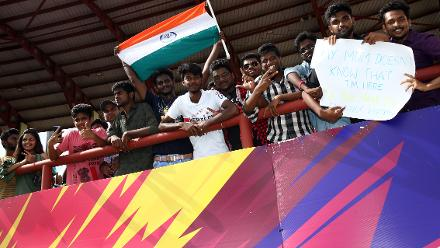 India fans show their support during the ICC Women's World T20 2018 match between India and Australia at Guyana National Stadium on November 17, 2018 in Providence, Guyana.