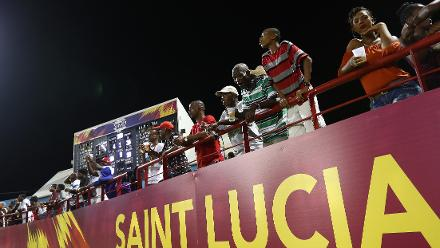 Fans look on during the ICC Women's World T20 2018 match between Windies and Sri Lanka at Darren Sammy Cricket Ground on November 16, 2018 in Gros Islet, Saint Lucia.