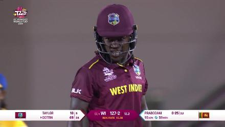 WI v SL: Deandra Dottin is lbw just short of fifty