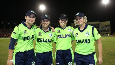 Clare Shillington, Isobel Joyce, Cecelia Joyce and Ciara Metcalfe pose following the announcement of their retirement during the ICC Women's World T20 2018 match between New Zealand and Ireland at Guyana National Stadium on November 17, 2018.
