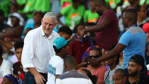 Allen Chastanet, Prime Minsiter of St Lucia pictured during the ICC Women's World T20 2018 match between Windies and England at Darren Sammy Cricket Ground on November 18, 2018 in Gros Islet, Saint Lucia.