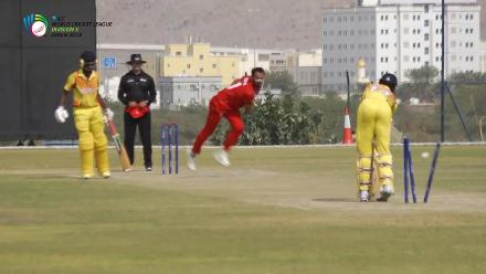 WCL 3 – Oman's Fayyaz Butt claims a hat-trick in his five-wicket haul against Uganda