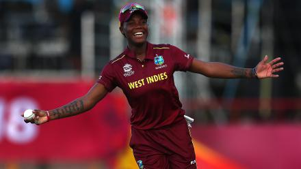 Chinelle Henry of Windies celebrates catching Danielle Wyatt of England during the ICC Women's World T20 2018 match between Windies and England at Darren Sammy Cricket Ground on November 18, 2018 in Gros Islet, Saint Lucia.