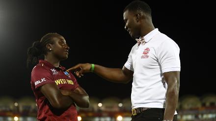 Daren Sammy talks to Stafanie Taylor of Windies after the ICC Women's World T20 2018 match between Windies and England at Darren Sammy Cricket Ground on November 18, 2018 in Gros Islet, Saint Lucia.